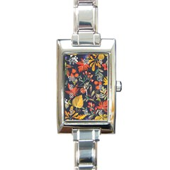 Autumn Flowers Pattern 8 Rectangle Italian Charm Watch by tarastyle