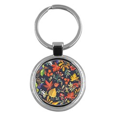 Autumn Flowers Pattern 8 Key Chains (round)  by tarastyle