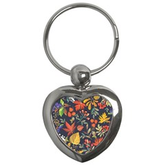 Autumn Flowers Pattern 8 Key Chains (heart)  by tarastyle