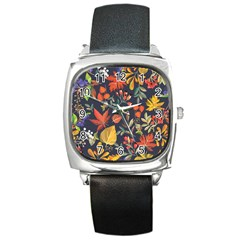 Autumn Flowers Pattern 8 Square Metal Watch by tarastyle