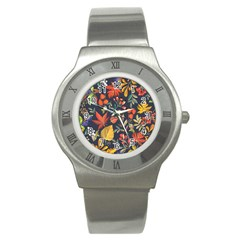 Autumn Flowers Pattern 8 Stainless Steel Watch by tarastyle