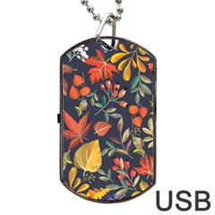 Autumn Flowers Pattern 8 Dog Tag Usb Flash (two Sides) by tarastyle