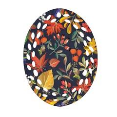 Autumn Flowers Pattern 8 Ornament (oval Filigree) by tarastyle