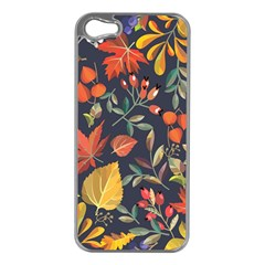Autumn Flowers Pattern 8 Apple Iphone 5 Case (silver) by tarastyle
