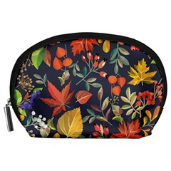 Autumn Flowers Pattern 8 Accessory Pouches (large)  by tarastyle