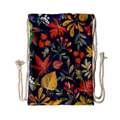 Autumn Flowers Pattern 8 Drawstring Bag (small) by tarastyle