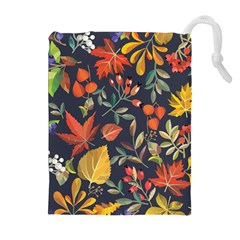 Autumn Flowers Pattern 8 Drawstring Pouches (extra Large) by tarastyle