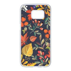 Autumn Flowers Pattern 8 Samsung Galaxy S7 Edge White Seamless Case by tarastyle
