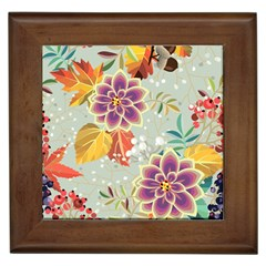 Autumn Flowers Pattern 9 Framed Tiles by tarastyle