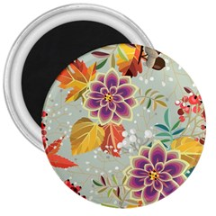 Autumn Flowers Pattern 9 3  Magnets by tarastyle