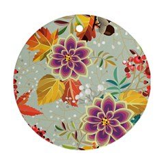 Autumn Flowers Pattern 9 Ornament (round) by tarastyle