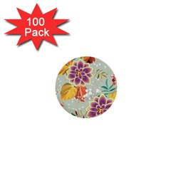 Autumn Flowers Pattern 9 1  Mini Buttons (100 Pack)  by tarastyle