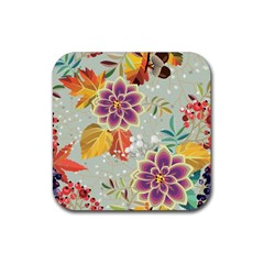 Autumn Flowers Pattern 9 Rubber Square Coaster (4 Pack)  by tarastyle