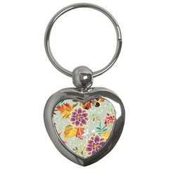 Autumn Flowers Pattern 9 Key Chains (heart)  by tarastyle