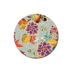 Autumn Flowers Pattern 9 Rubber Coaster (round)  by tarastyle