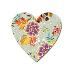 Autumn Flowers Pattern 9 Heart Magnet by tarastyle