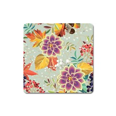 Autumn Flowers Pattern 9 Square Magnet by tarastyle