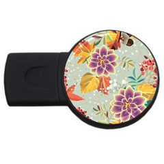 Autumn Flowers Pattern 9 Usb Flash Drive Round (2 Gb) by tarastyle
