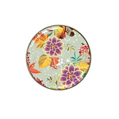 Autumn Flowers Pattern 9 Hat Clip Ball Marker (4 Pack) by tarastyle