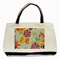 Autumn Flowers Pattern 9 Basic Tote Bag (two Sides) by tarastyle