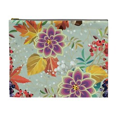 Autumn Flowers Pattern 9 Cosmetic Bag (xl) by tarastyle