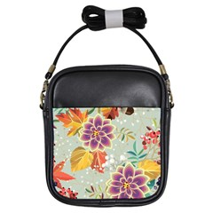Autumn Flowers Pattern 9 Girls Sling Bags by tarastyle