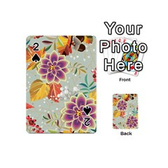 Autumn Flowers Pattern 9 Playing Cards 54 (mini)  by tarastyle