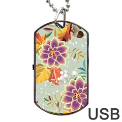 Autumn Flowers Pattern 9 Dog Tag Usb Flash (two Sides) by tarastyle