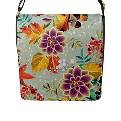 Autumn Flowers Pattern 9 Flap Messenger Bag (l)  by tarastyle