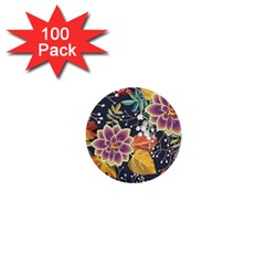 Autumn Flowers Pattern 10 1  Mini Buttons (100 Pack)  by tarastyle