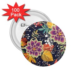 Autumn Flowers Pattern 10 2 25  Buttons (100 Pack)  by tarastyle