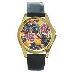 Autumn Flowers Pattern 10 Round Gold Metal Watch by tarastyle