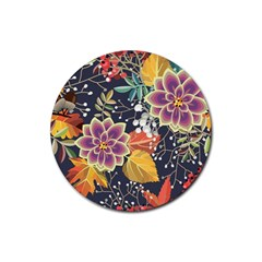 Autumn Flowers Pattern 10 Rubber Coaster (round)  by tarastyle