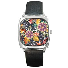 Autumn Flowers Pattern 10 Square Metal Watch by tarastyle