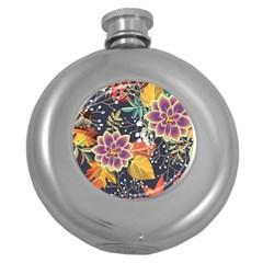 Autumn Flowers Pattern 10 Round Hip Flask (5 Oz) by tarastyle