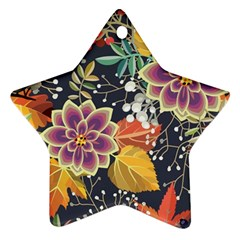 Autumn Flowers Pattern 10 Star Ornament (two Sides) by tarastyle