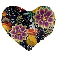 Autumn Flowers Pattern 10 Large 19  Premium Heart Shape Cushions by tarastyle