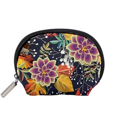 Autumn Flowers Pattern 10 Accessory Pouches (small)  by tarastyle