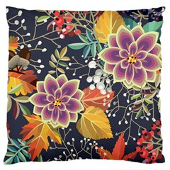 Autumn Flowers Pattern 10 Large Flano Cushion Case (one Side) by tarastyle