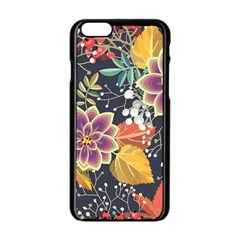 Autumn Flowers Pattern 10 Apple Iphone 6/6s Black Enamel Case by tarastyle
