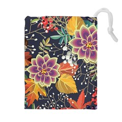 Autumn Flowers Pattern 10 Drawstring Pouches (extra Large) by tarastyle