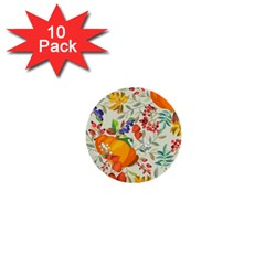 Autumn Flowers Pattern 11 1  Mini Buttons (10 Pack)  by tarastyle