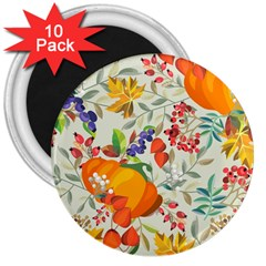 Autumn Flowers Pattern 11 3  Magnets (10 Pack)  by tarastyle