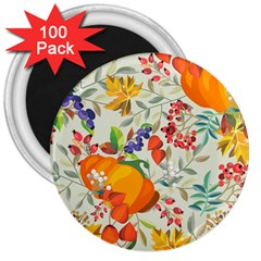 Autumn Flowers Pattern 11 3  Magnets (100 Pack) by tarastyle