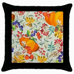 Autumn Flowers Pattern 11 Throw Pillow Case (black) by tarastyle