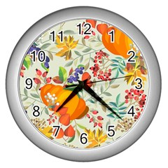 Autumn Flowers Pattern 11 Wall Clocks (silver)  by tarastyle