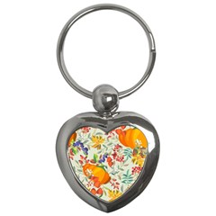 Autumn Flowers Pattern 11 Key Chains (heart)  by tarastyle
