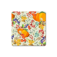 Autumn Flowers Pattern 11 Square Magnet by tarastyle