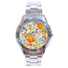 Autumn Flowers Pattern 11 Stainless Steel Analogue Watch by tarastyle