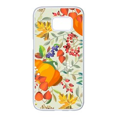 Autumn Flowers Pattern 11 Samsung Galaxy S7 Edge White Seamless Case by tarastyle